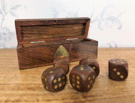 Sheesham Rosewood Handcrafted Long Dice Box with Brass Corners